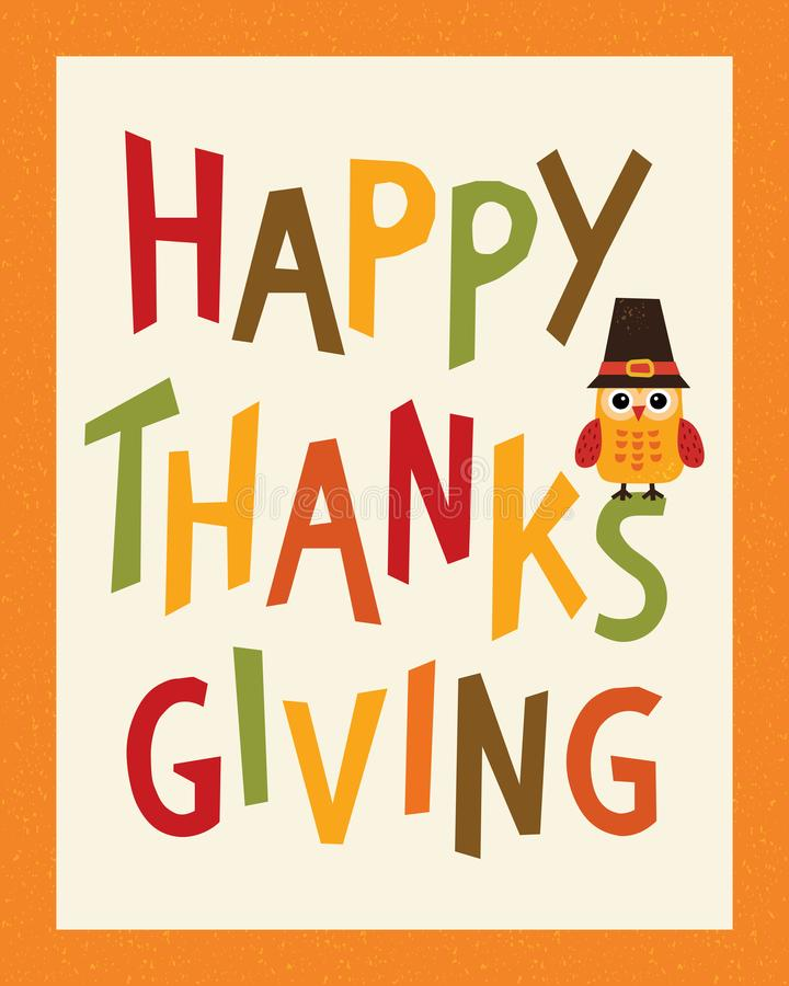 Happy thanksgiving card portrait frame owl in pilgrim hat stock illustration
