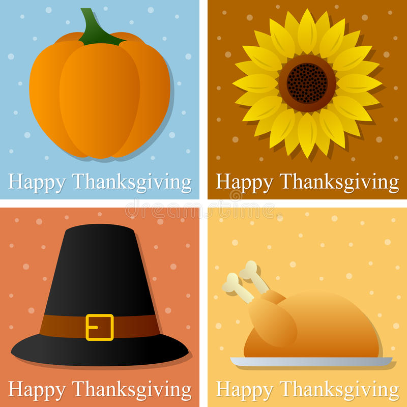 Happy Thanksgiving Day Cards. Collection of four colorful Happy Thanksgiving day greetings cards. Eps file available stock illustration