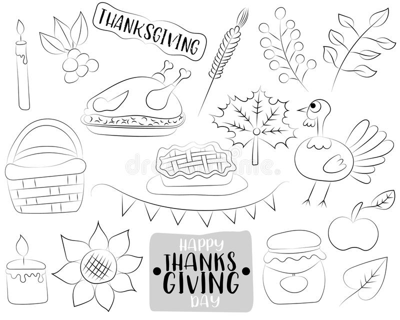 Happy Thanksgiving day cartoon icons and objects set. Black and white outline coloring page. Hand drawn kids game vector illustration