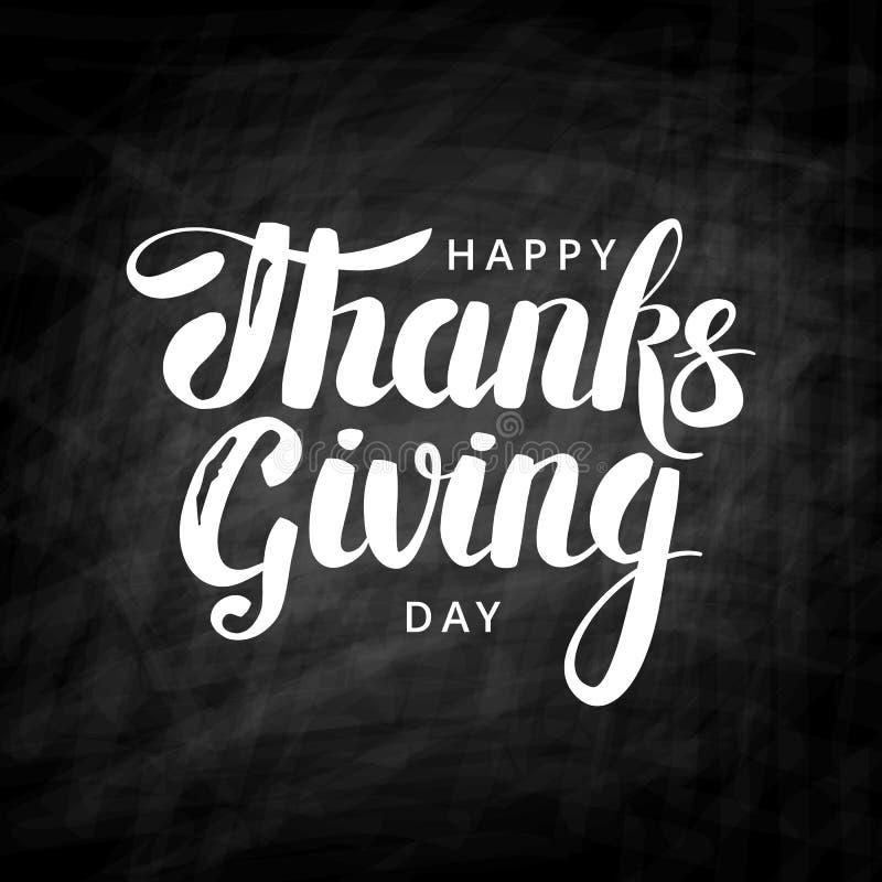 Happy thanksgiving day chalk lettering royalty free illustration