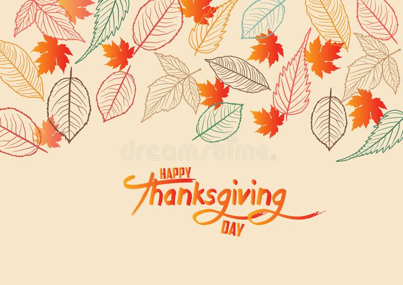 Happy Thanksgiving Day. Fall Leaves Background.  royalty free illustration