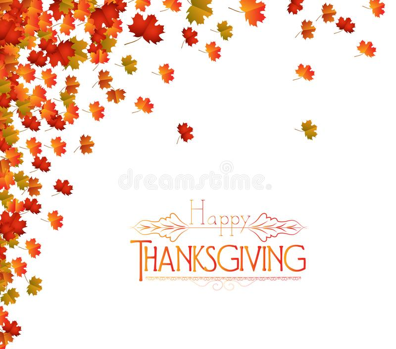 Happy Thanksgiving Day. Fall Leaves Background.  stock illustration
