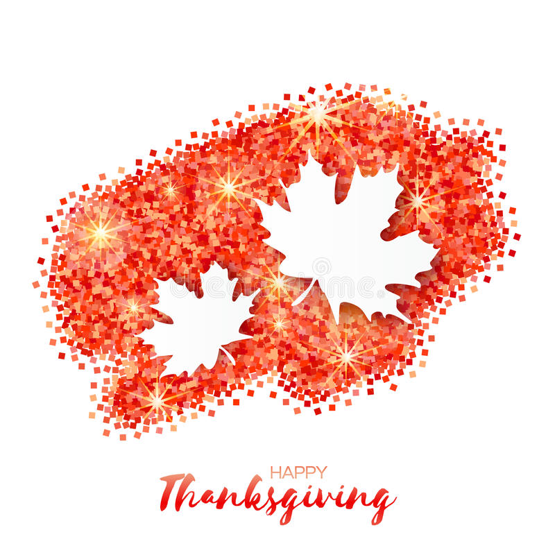 Happy Thanksgiving Day greeting card with origami beautiful autumn white maple leaves royalty free illustration