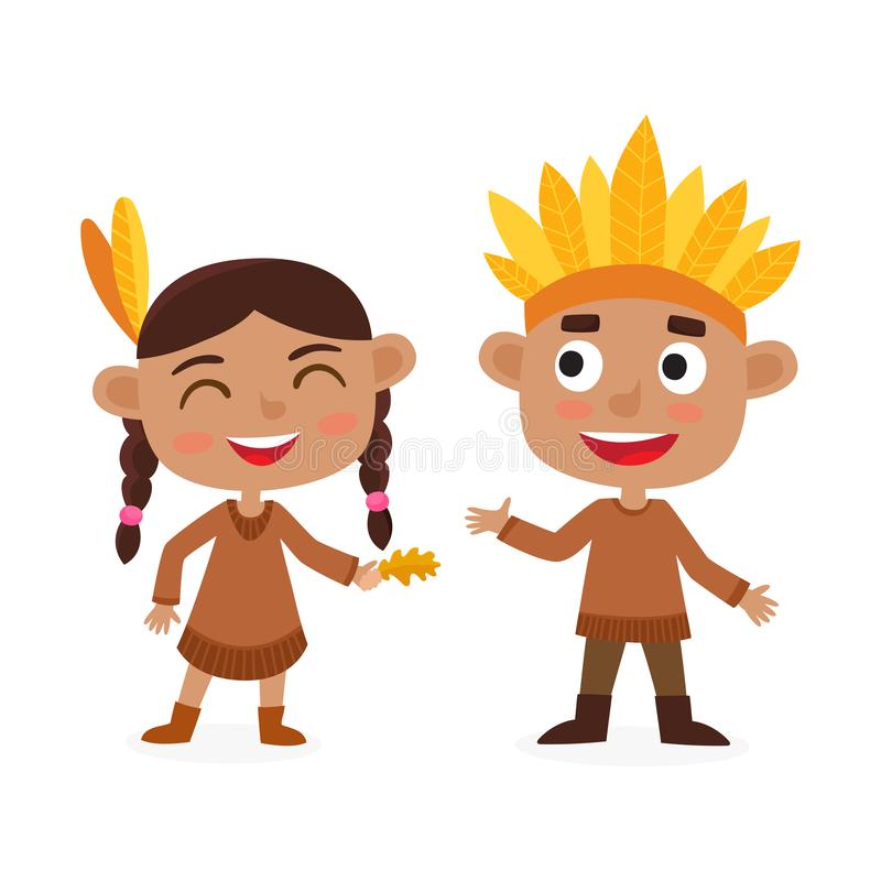 Happy thanksgiving day. Indian boy and girl isolated on white. Happy thanksgiving day. Greeting card with people characters and holiday food. Indian boy and stock illustration