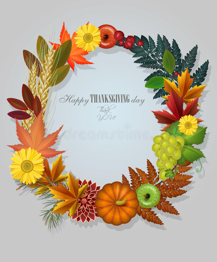 Happy Thanksgiving Day greeting card with wreath stock illustration
