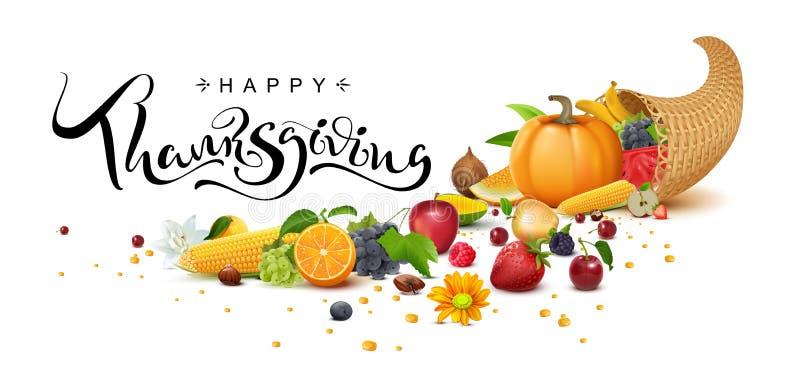 Happy Thanksgiving Day handwritten calligraphy text greeting card. Cornucopia harvest stock illustration