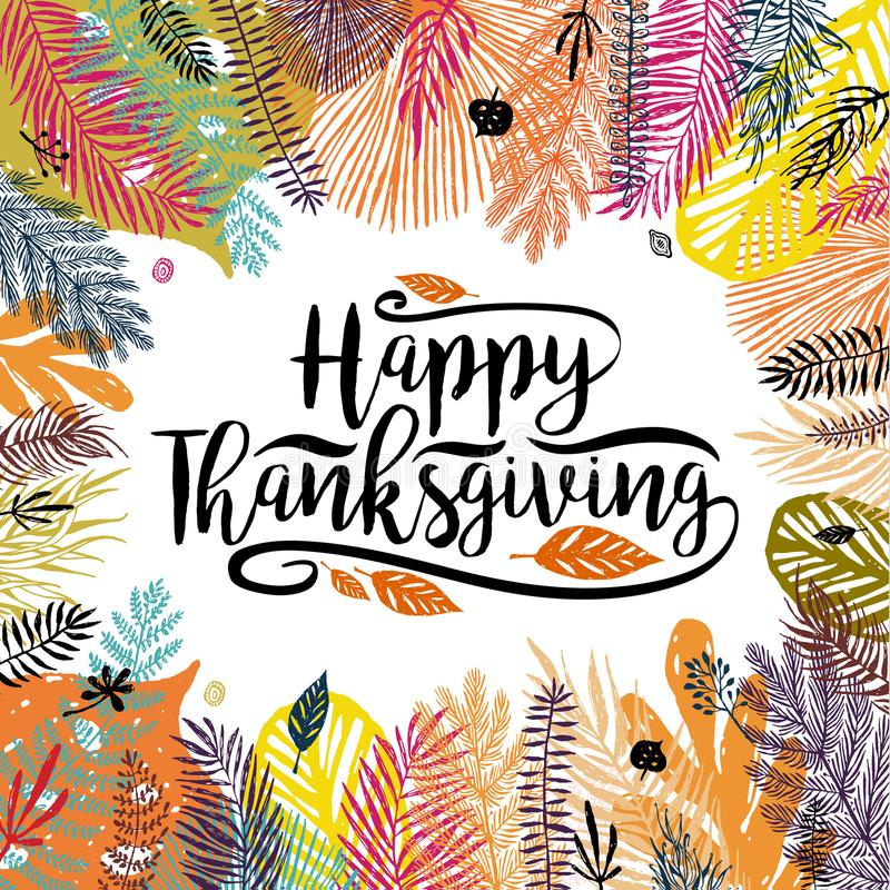 Happy Thanksgiving Day illustration with multicolor trendy autumn background. Great design element for congratulation royalty free illustration