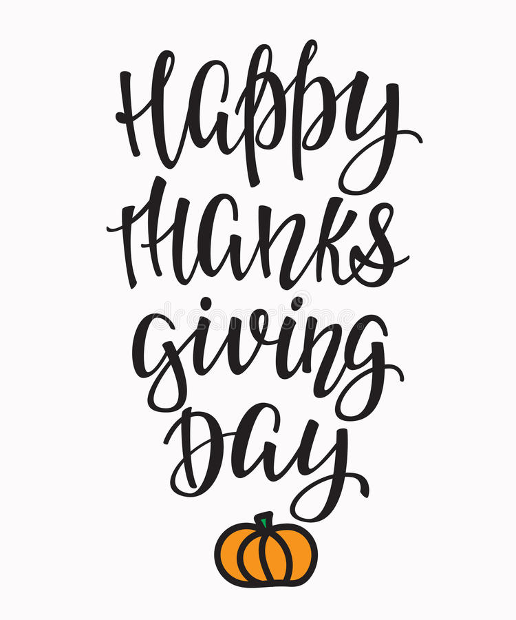 Happy thanksgiving day lettering typography stock