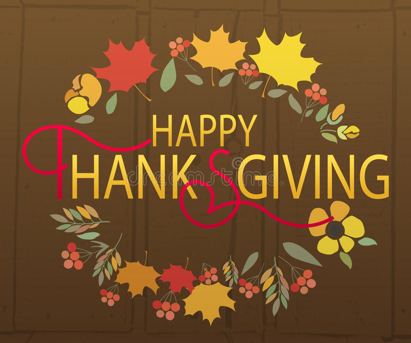 Happy Thanksgiving Day logotype, badge royalty free illustration
