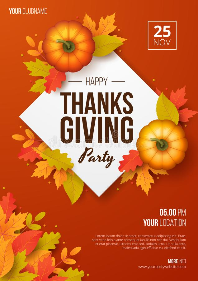 Happy thanksgiving day party poster template with autumn leaves and pumpkins. Vector illustration stock image