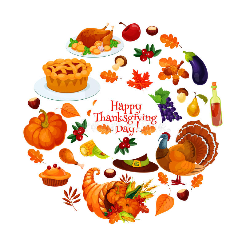 Happy thanksgiving day round sticker emblem stock vector for Cuisine janod happy day