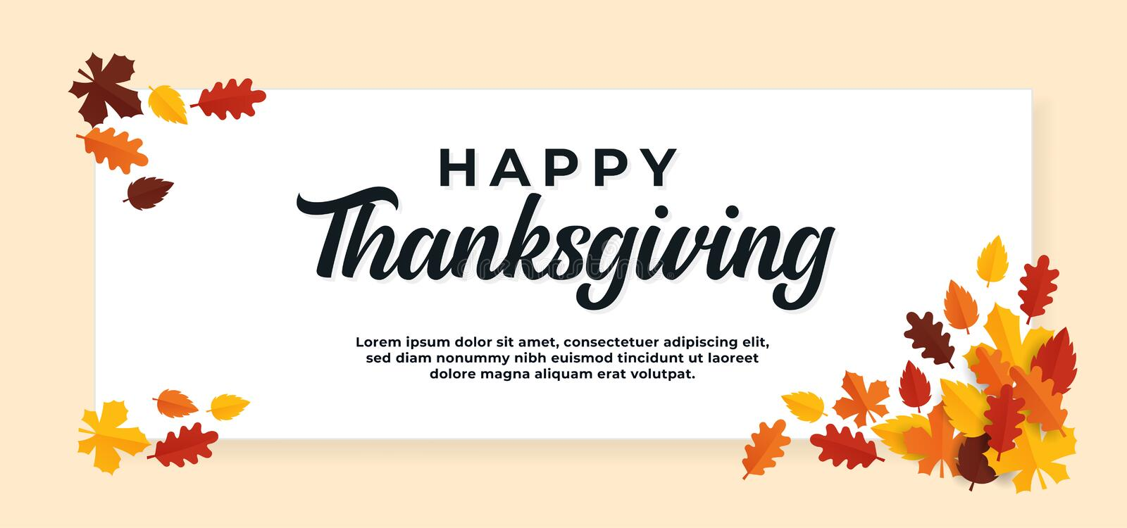 Happy thanksgiving day text background with fall dry leaves ornament vector illustration banner template. Eps 10 royalty free illustration