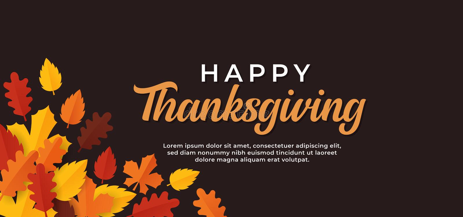 Happy thanksgiving day text minimal background with dry fall leaves vector illustration. Eps 10 vector illustration