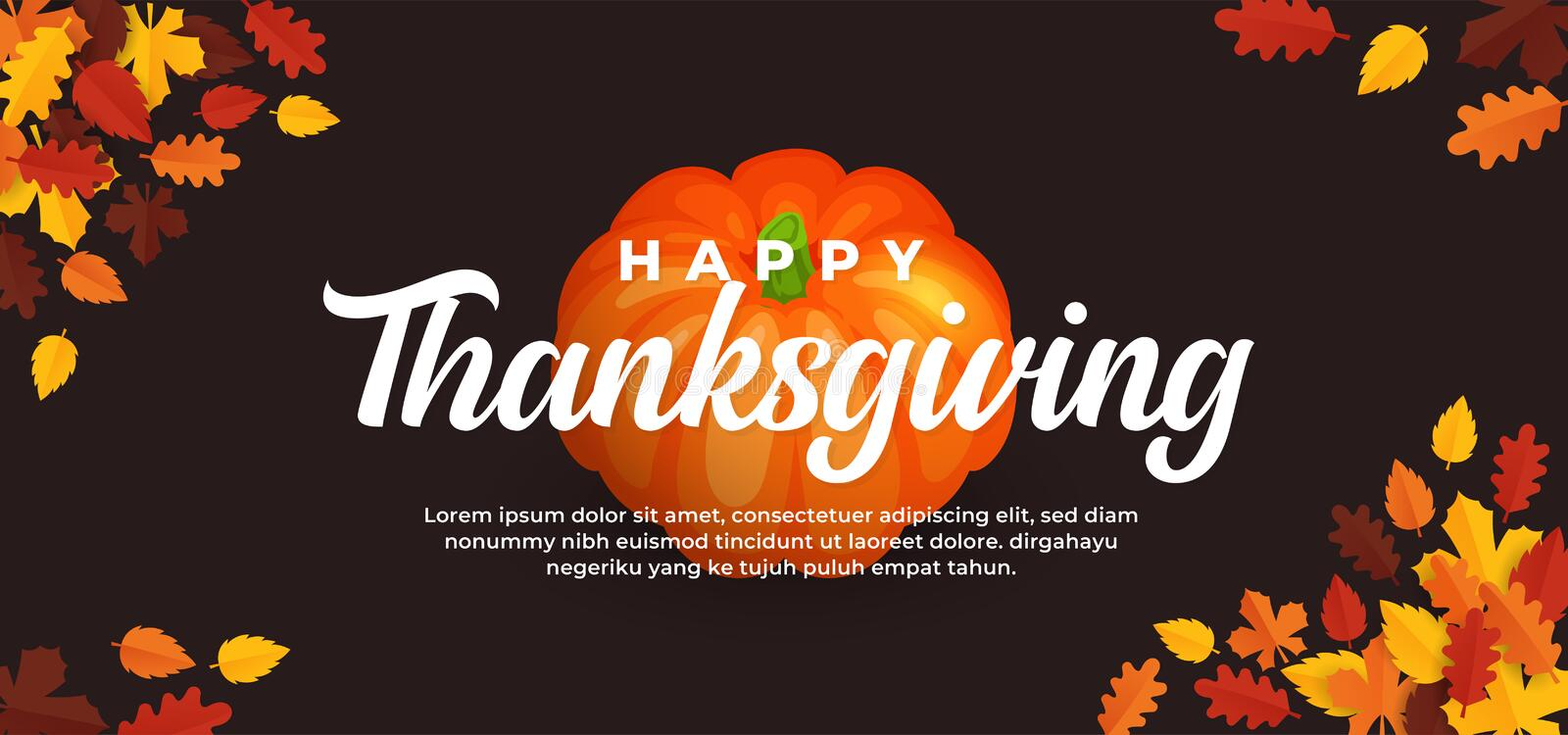 Happy thanksgiving day text on pumpkin fruit background and fall dry leaves vector illustration banner template. Eps 10 stock illustration