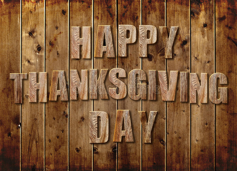 Happy Thanksgiving Day. Text Happy Thanksgiving Day from wood stock photography