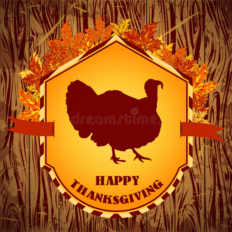 Happy Thanksgiving day. Vintage hand drawn vector illustration with turkey and autumn leaves on wooden background. stock illustration