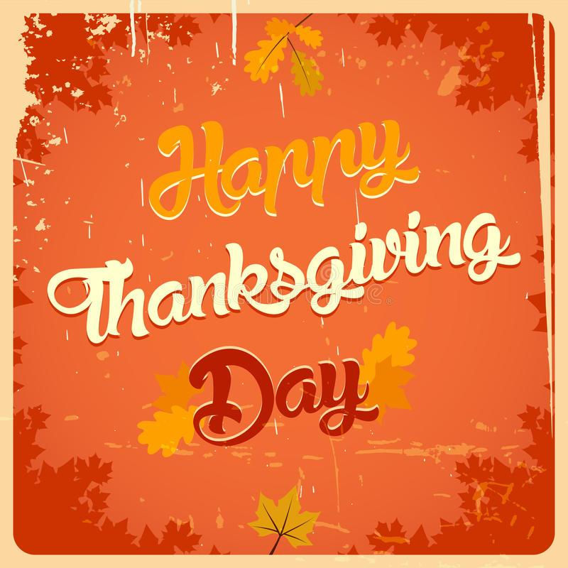 Happy Thanksgiving day vintage poster royalty free illustration