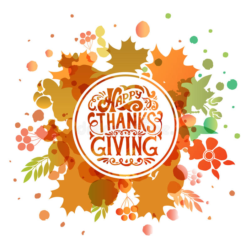 Happy Thanksgiving Day watercolor logotype, badge and icon vector illustration