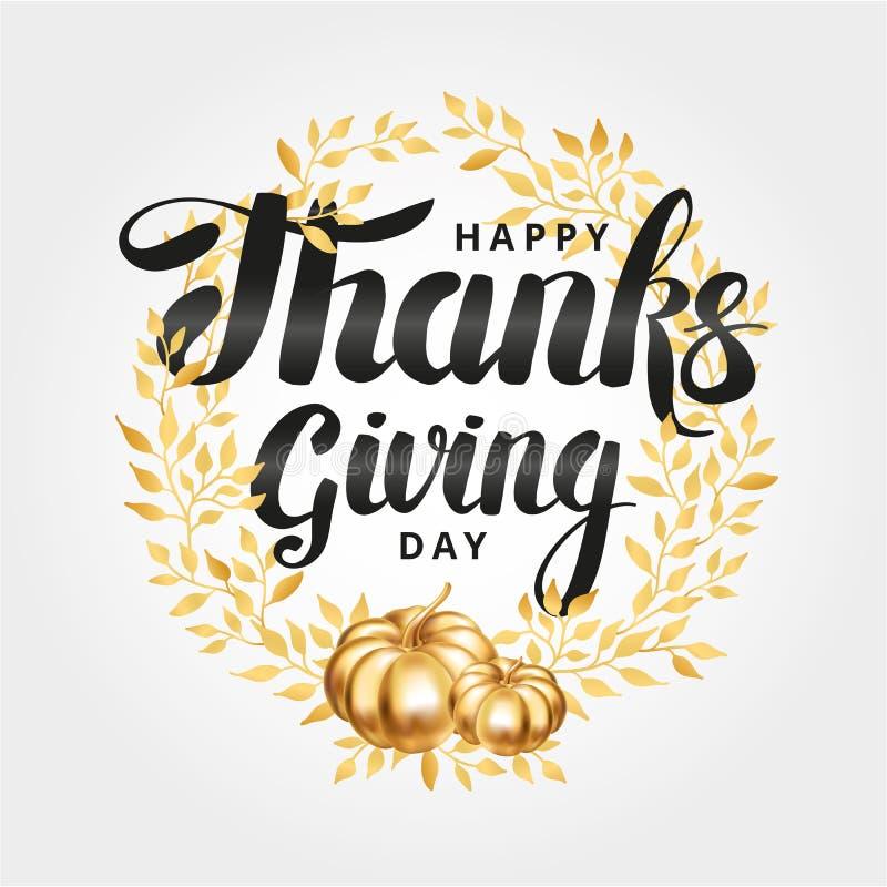 Happy thanksgiving day wreath stock illustration