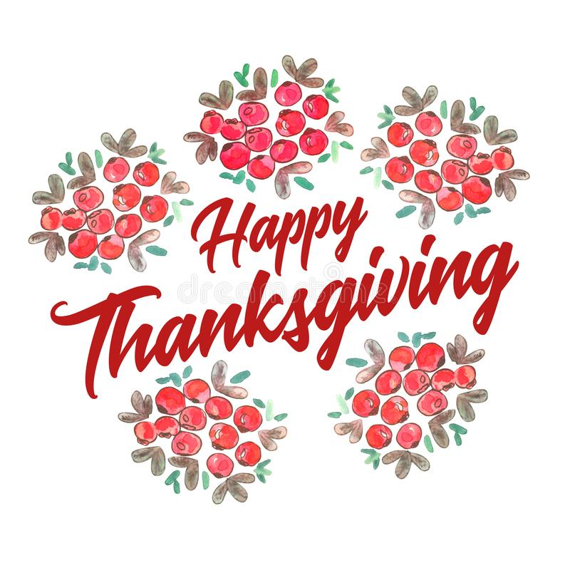 Happy thanksgiving decorated with cranberry bunches royalty free stock photos