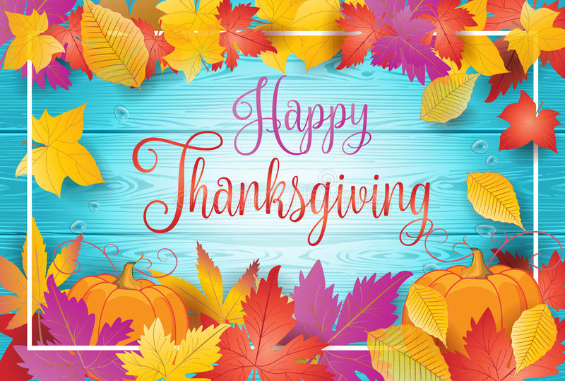 Happy Thanksgiving fall leaves and pumpkin vector illustration