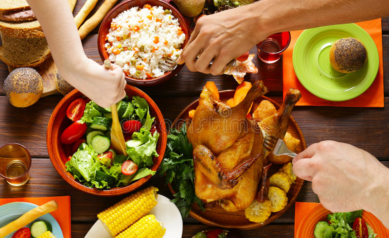 Happy Thanksgiving! Festive table with baked chicken stock image