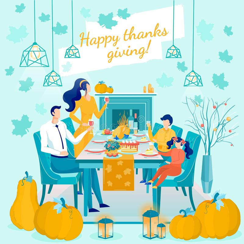 Happy Thanksgiving Greeting Card Design Template stock abbildung