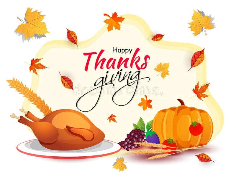 Happy Thanksgiving greeting card design with vegetables, grapes, chicken and autumn leaves. vector illustration