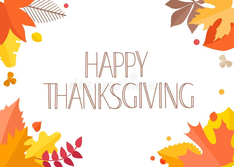 Happy Thanksgiving greeting card with handdrawn text vector illustration