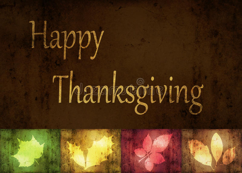 Happy Thanksgiving Grunge Leaves vector illustration