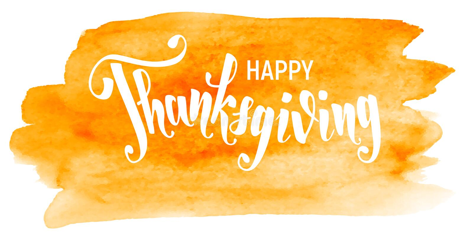 Happy Thanksgiving. Hand writting lettering on watercolor background stock illustration