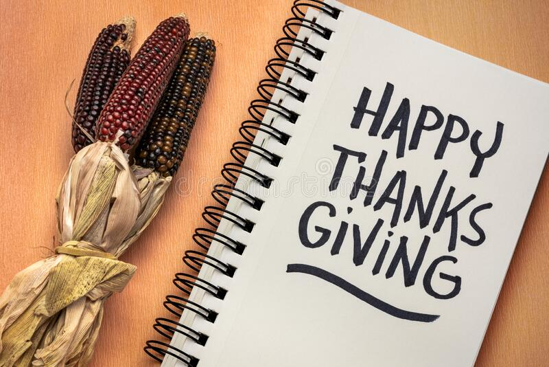 Happy Thanksgiving handwriting -greeting card royalty free stock images