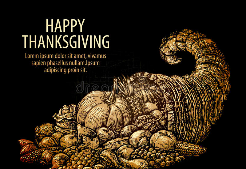 Happy Thanksgiving. Horn of plenty. Cornucopia with fruits and vegetables. Happy Thanksgiving. Horn of plenty. Cornucopia with fruits, vegetables vector illustration