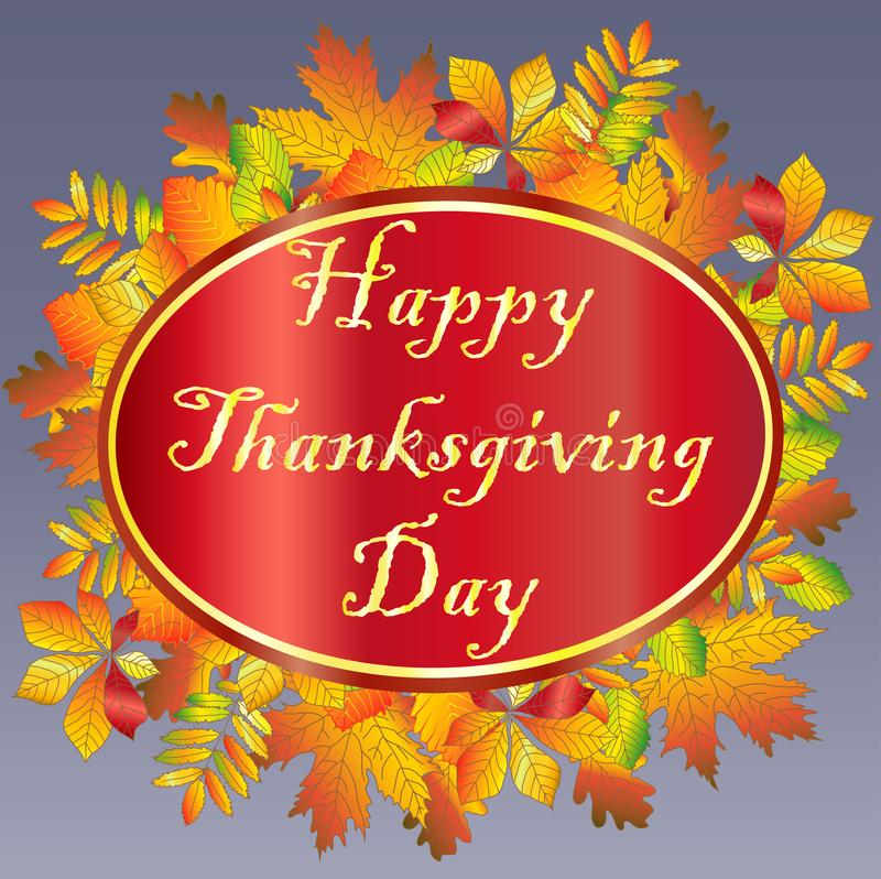 happy Thanksgiving. inscription on the background of orange maple leaf vector illustration