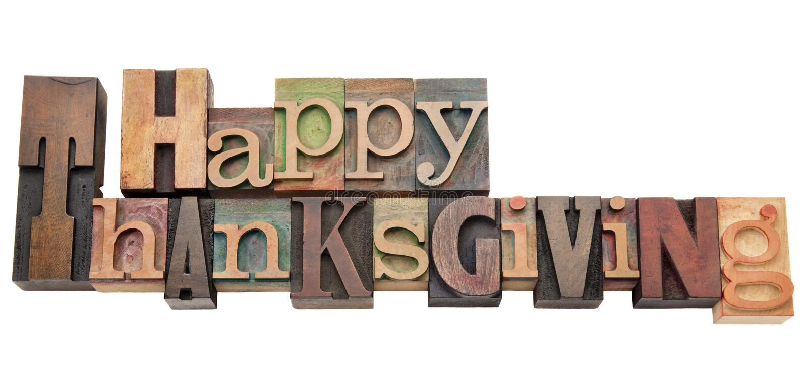 Happy Thanksgiving in letterpress type stock images