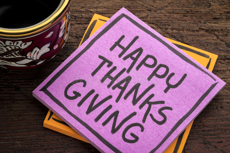Happy Thanksgiving note with coffee royalty free stock photos