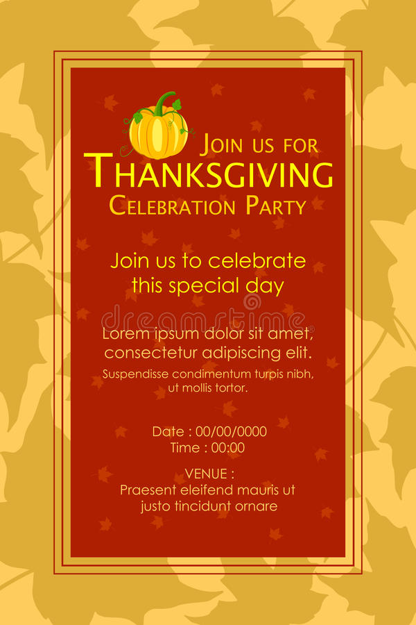 Happy Thanksgiving Party Invitation Background Stock Vector ...