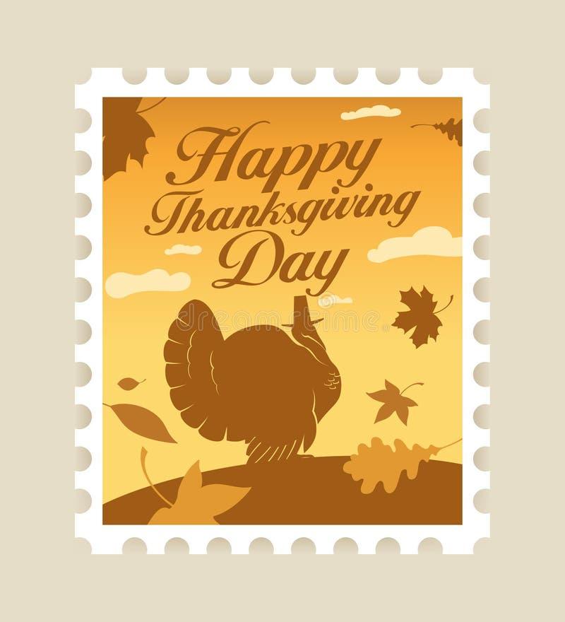 Happy Thanksgiving postage stamp. stock illustration