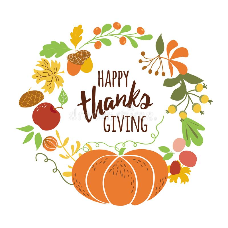 Happy Thanksgiving Pumpkin wreath Text for Thanksgiving day autumn leaves Fall banner vector stock illustration