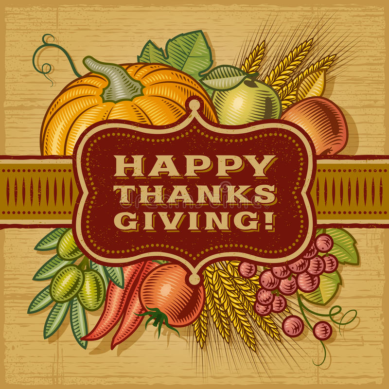 Free Happy Thanksgiving Retro Card Royalty Free Stock Photos - 34504358