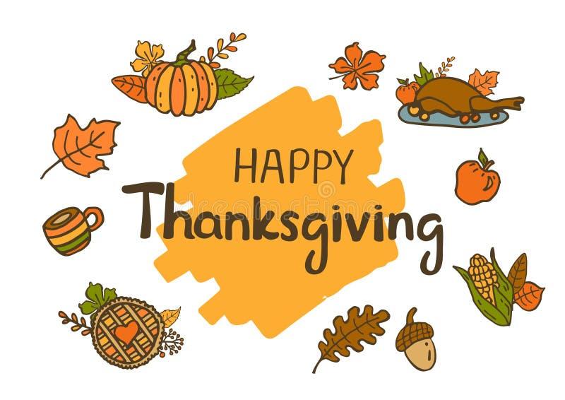 Happy thanksgiving seasonal fall autumn cartoon hand drawn doodle background. Card royalty free illustration
