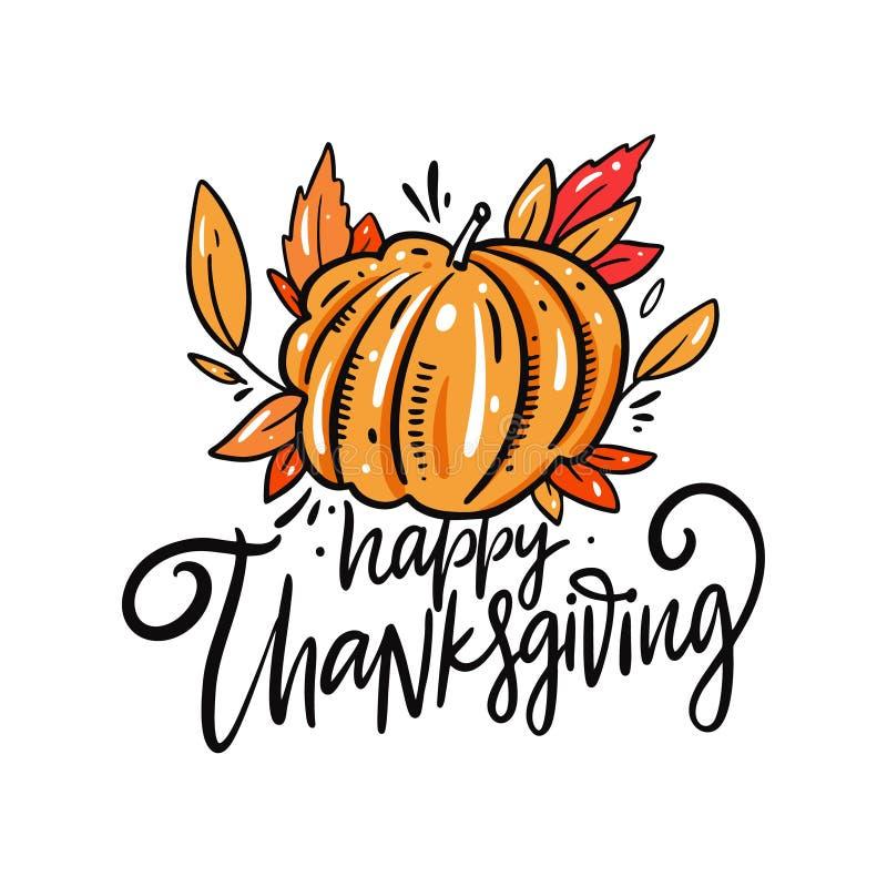 Happy Thanksgiving semesterbrev Bild på provdockans handritade vektor stock illustrationer