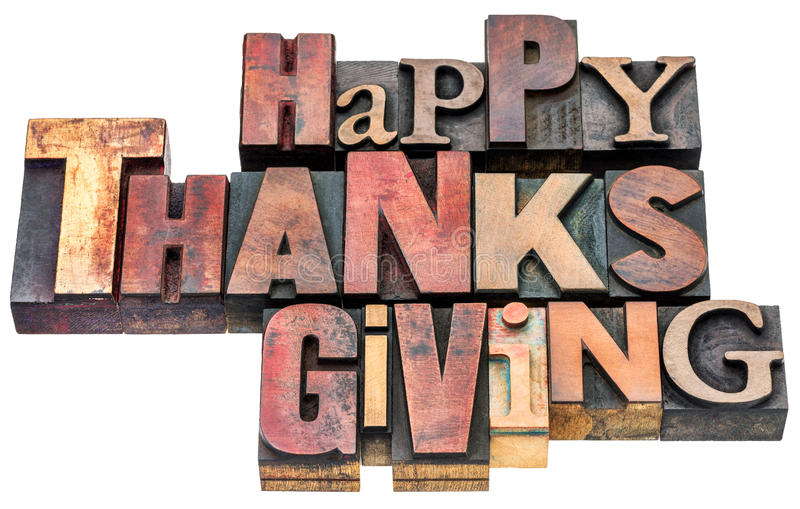 Happy Thanksgiving sign in wood type royalty free stock images