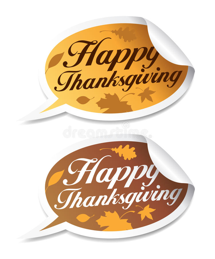 Happy Thanksgiving stickers. Happy Thanksgiving stickers in form of speech bubbles