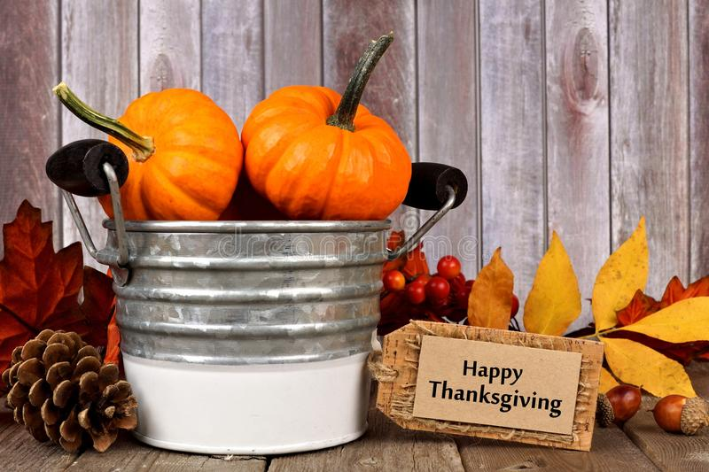 Download Happy Thanksgiving Tag And Autumn Decor With Rustic Wood Background Stock Photo