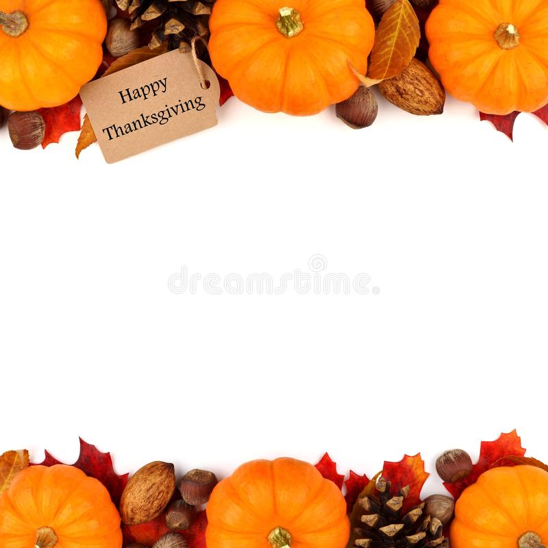Happy Thanksgiving tag with autumn double border over white. Happy Thanksgiving tag with autumn double border of pumpkins, leaves and nuts isolated on white stock image