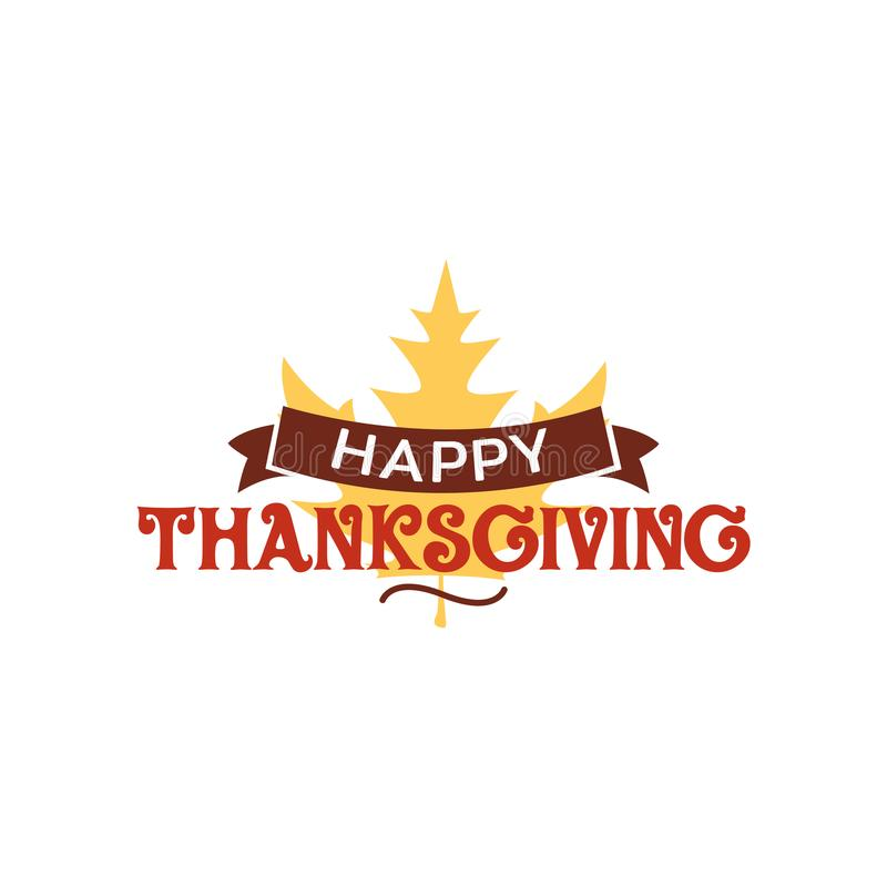 Happy thanksgiving text with dried leave background. Autumn fall typography design. royalty free illustration