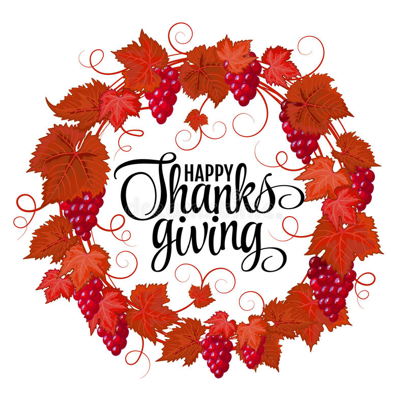 Happy Thanksgiving with text greeting and autumn leaves . Vector illustration EPS 10. Happy Thanksgiving with text greeting and autumn leaves and berries stock illustration