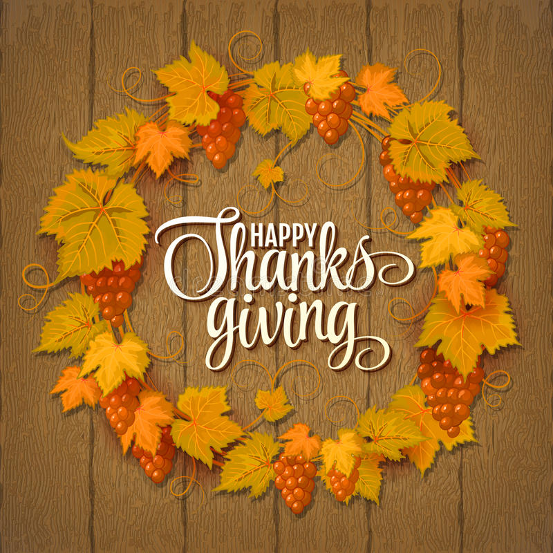 Happy Thanksgiving with text greeting and autumn leaves . Vector illustration EPS 10. Happy Thanksgiving with text greeting and autumn leaves and berries on vector illustration