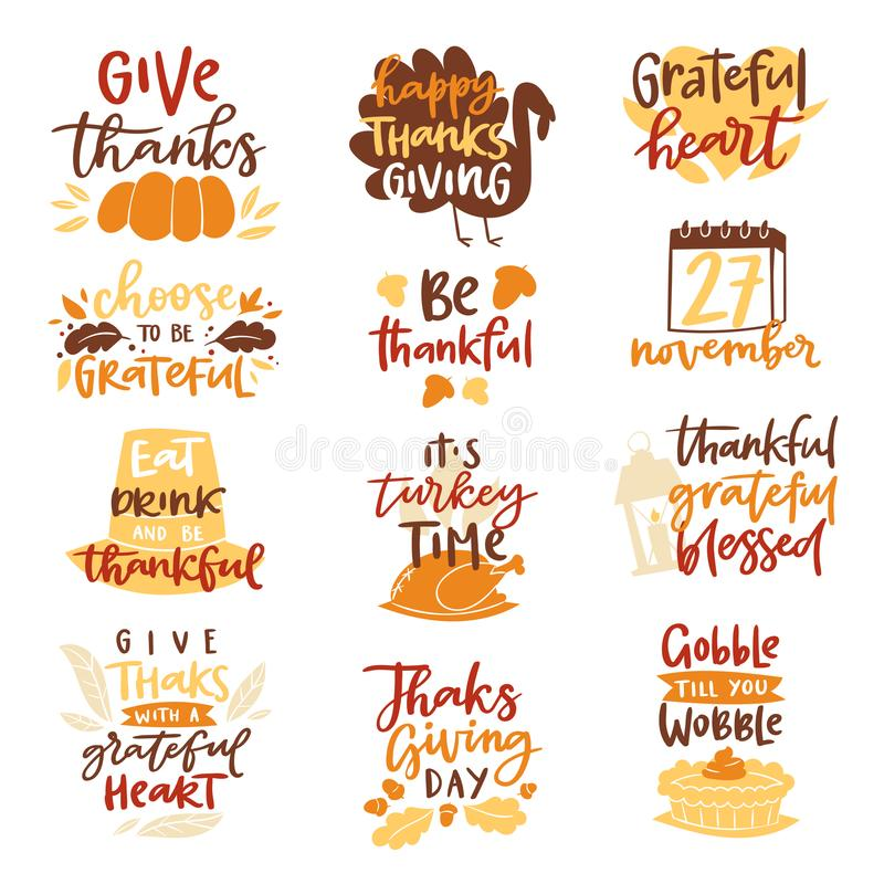 Happy Thanksgiving text logo vector lettering family dinner time together celebrate harvest time to say Thanks to nature.  royalty free illustration